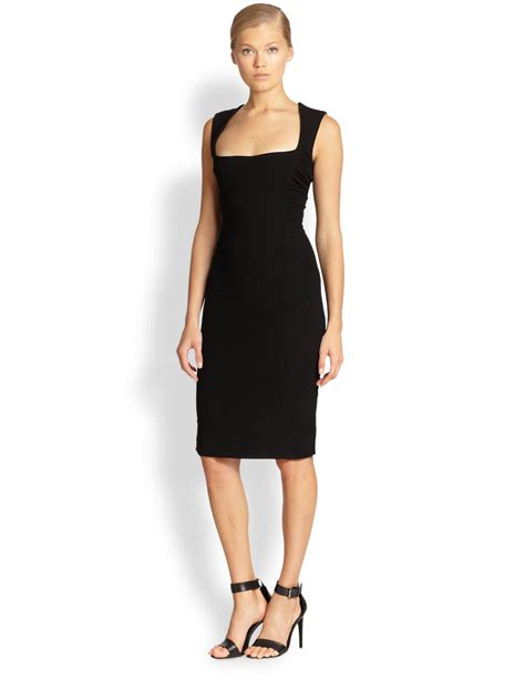 Dress Square Black l agence ruched square neck dress in black lyst