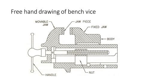 Bench Vice Line Diagram drawing details and assembly of simple bench vice