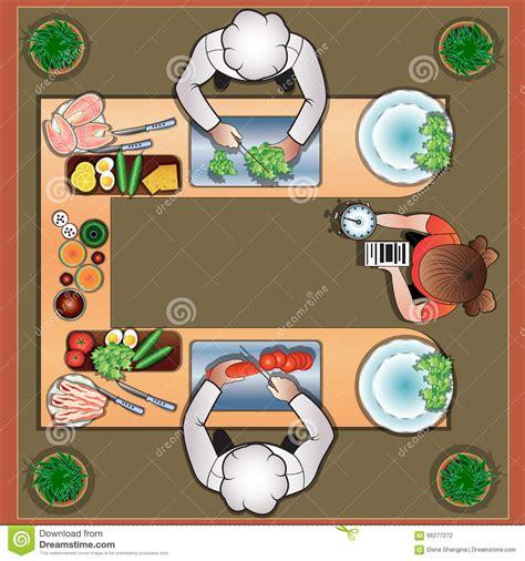cuochi in cucina duello culinario dei cuochi in cucina illustrazione