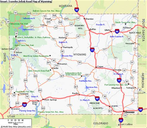 wyoming road map map of wyoming