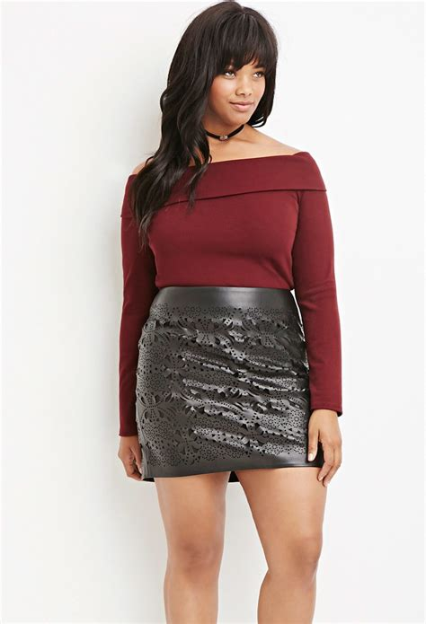 forever 21 plus size perforated faux leather skirt in