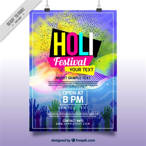 festival brochure template holi festival brochure with colorful stains and vector free