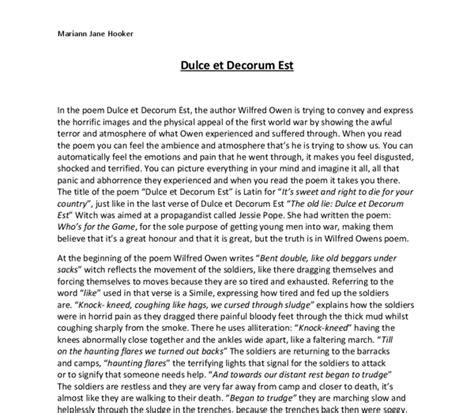 Wilfred Owen Essay by Analysis Of Wilfred Owen S Quot Dulce Et Decorum Est Quot Gcse Marked By Teachers