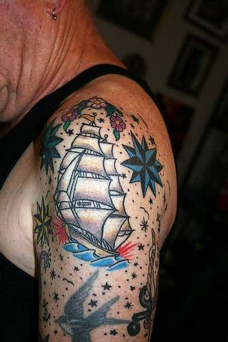 tattoo old school navy old school grey ink navy ship tattoo on left half sleeve