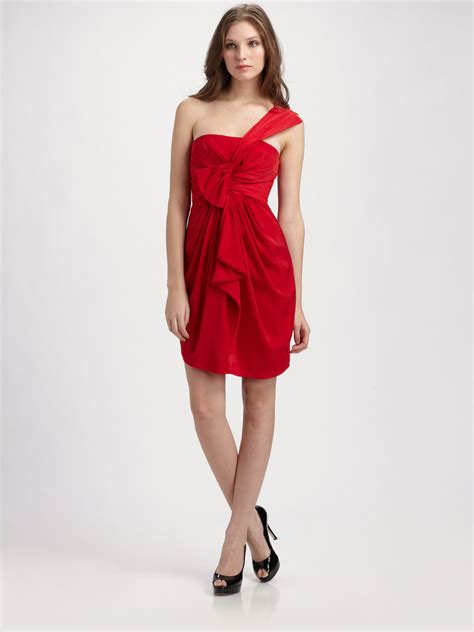 drape front dresses bcbgmaxazria one shoulder drape front dress in red lyst