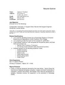 How To Write A Resume Outline by Resume Outline Exles Berathen