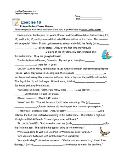 Parts Of Speech Review Worksheet
