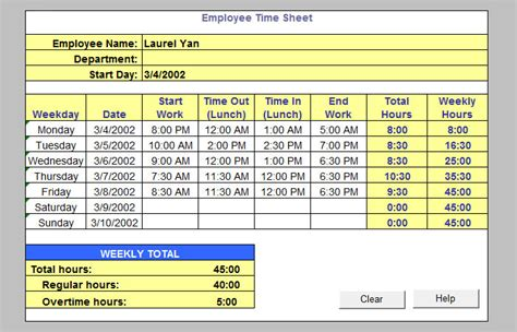 Automated Timesheet Excel Template by Automated Timesheet Excel Template Aiyin Template Source