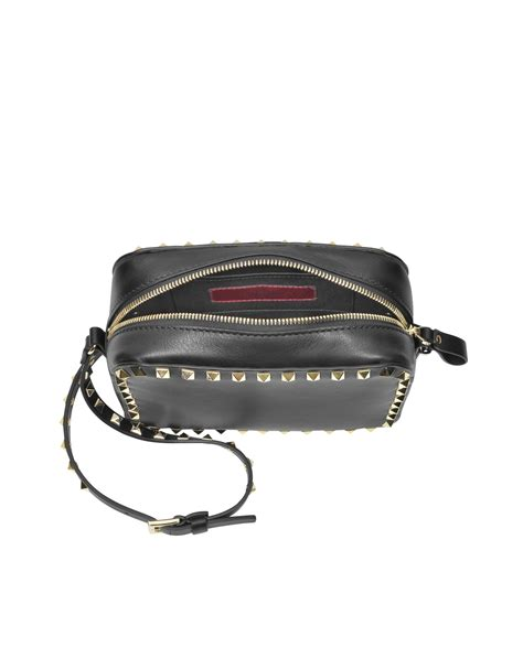 valentino rockstud small leather crossbody bag in black lyst