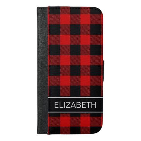 red black buffalo check plaid  monogram iphone   wallet case case