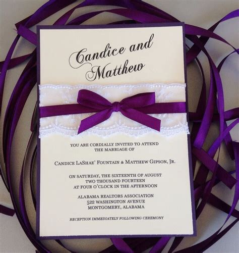 purple and wedding invitation with white lace and purple ribbon ebay