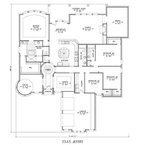 4 bedroom 1 story house plans 4 bedroom 3 bath 1 story house plan 3385