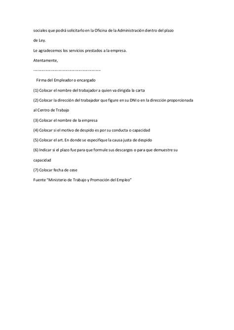 requisitos de la carta de despido por causas organizativas carta de despido