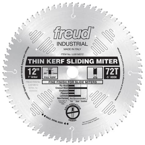 freud 174 lu91m industrial thin kerf sliding compound miter