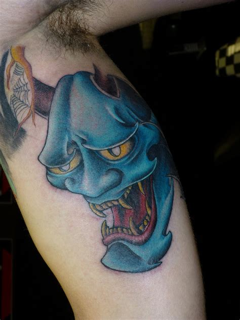 blue hannya mask tattoo blue oni mask tattoo on muscles 187 tattoo ideas