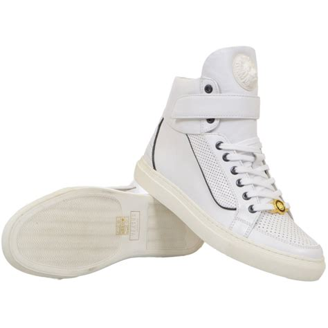 High Top versace versus leather white high top trainers