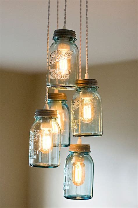 Mason Jar Cluster Chandelier Farm House Lighting With 5 Jar Pendant Lights