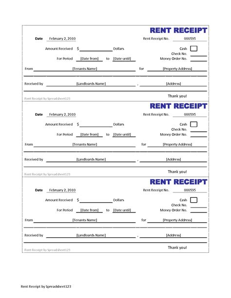 printable invoice and blank rent receipt template sle