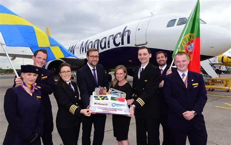 monarch cabin crew monarch s stockholm and porto inaugural flights take
