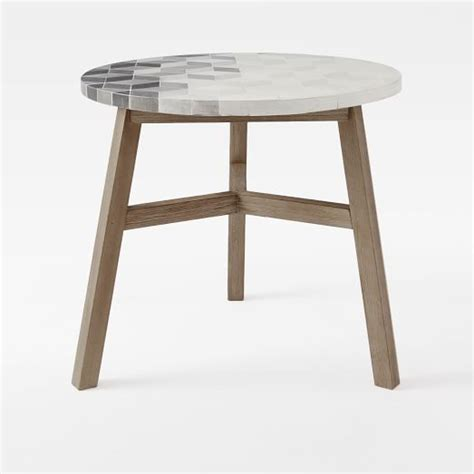 Tile Bistro Table Mosaic Tiled Bistro Table Isometric Concrete Top Driftwood Base West Elm