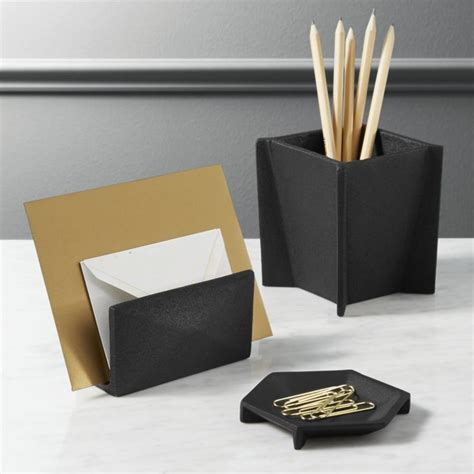Office And Desk Accessories Matte Black Desk Accessories Cb2