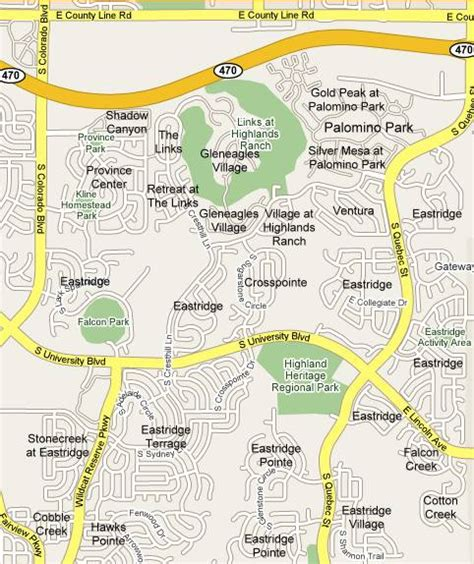 highlands ranch colorado map eastridge subdivisions map and list highlands ranch