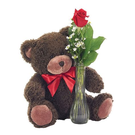 classic bud vase roses with teddy a garden of flowers