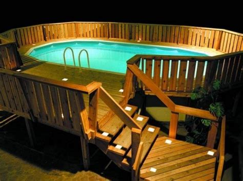 pool deck lighting 40 uniquely awesome above ground pools with decks ground