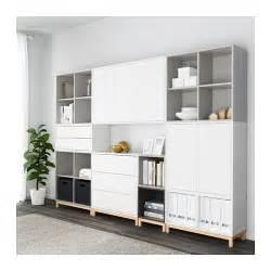ikea eket eket cabinet combination with legs white light grey dark grey 245x35x185 cm ikea