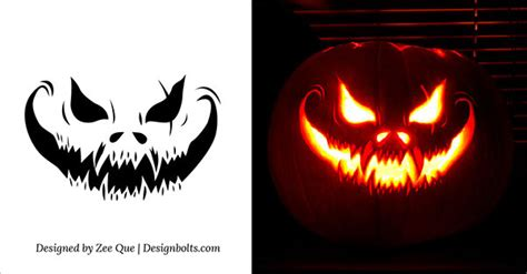 10 free scary halloween pumpkin carving patterns free