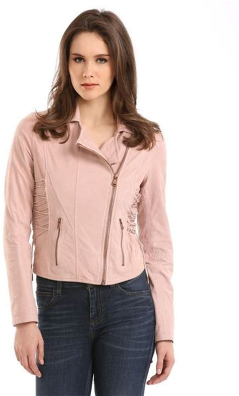 Guess Leather Pink guess fabienne leather jacket in pink light pink lyst