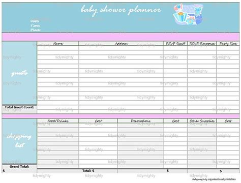 baby shower planning template baby shower planner organizer printable pdf by tidymighty