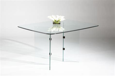 rectangular all glass dining table table with two v base