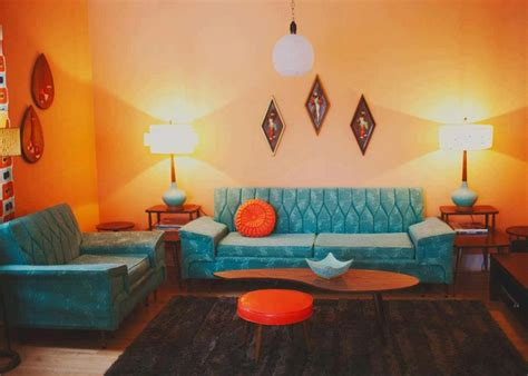 Retro Room Decor Orange And Turquoise Retro Living Room A Retro Livingroom Pintere