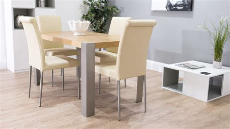 Funky Dining Tables Modern Oak Dining Table And Real Leather Chairs Funky Brushed Metal Legs