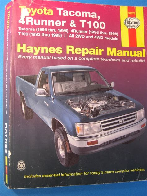 service repair manual free download 1998 toyota t100 parking system toyota haynes repair manual tacoma 4 runner t100