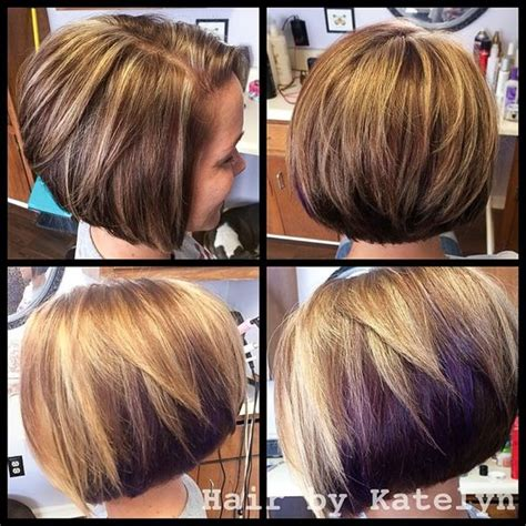 dirty blonde bob hairstyle with peek a boo highlights auburn brown base with rich blonde highlights a fun