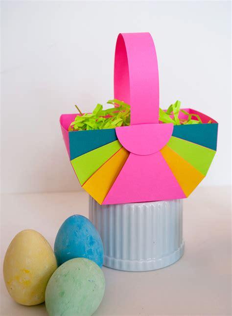 How To Make Paper Easter Baskets - easy diy paper easter basket and astrobrights paper
