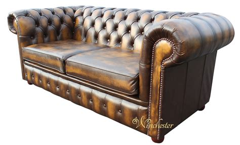 Chesterfield 2 Seater Antique Gold Leather Sofa Offer Gold Leather Sofa
