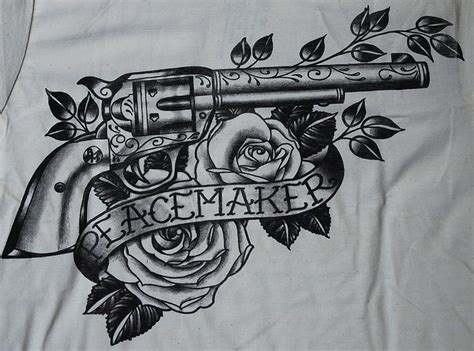 tattoo guns ebay peacemaker shirt gun colt revolver black market