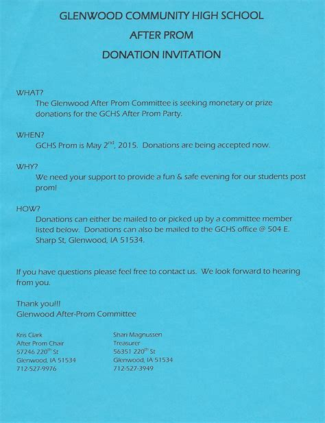 Donation Letter Prom The Glenwood After Prom Committee Glenwood Iowa Area Chamber Of Commerce