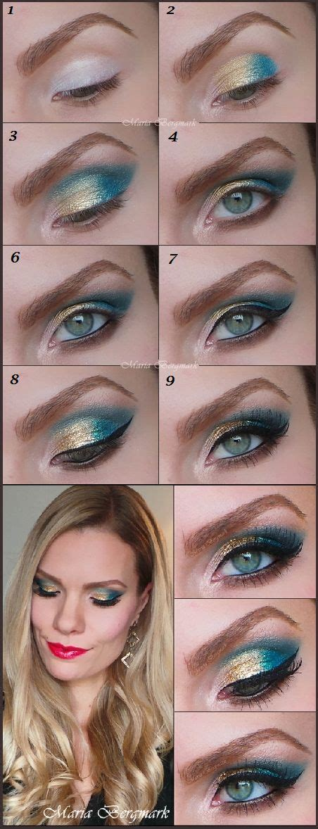 Tutorial Eyeshadow Wardah Seri I gold turquoise glitter eyeshadow tutorial make up and nail maquillage et manucure
