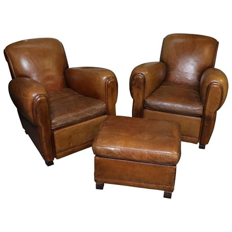 french ottoman furniture french art deco leather chairs with ottoman for sale at