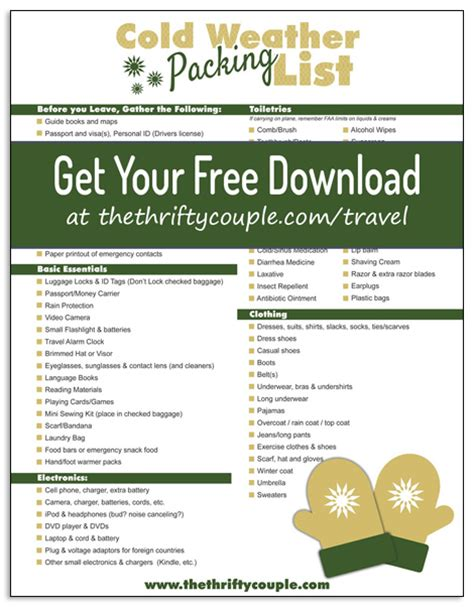 printable holiday packing list 2015 cold weather and winter vacation packing list free printable