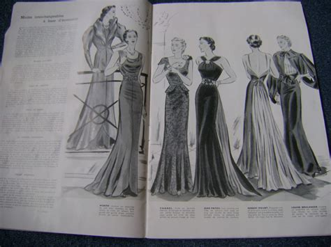 response pattern in french 1930s fashion vintage deco french haut couture magazine