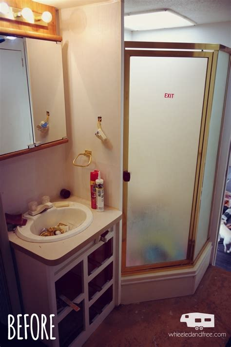 rv bathroom remodel rv renovation and life update wheeled and free