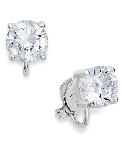 Silver Clip With Cubic Zirconia P 1152 ralph silver tone cubic zirconia clip on earrings jewelry watches macy s