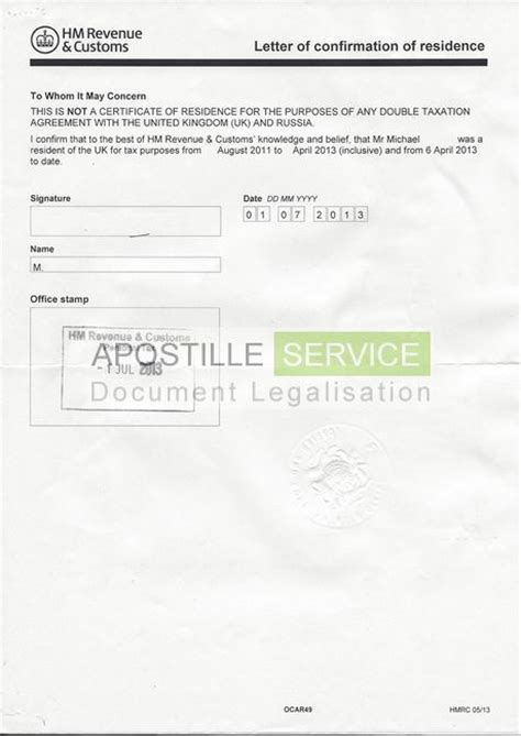 Apostille for HMRC letter and residency certificates