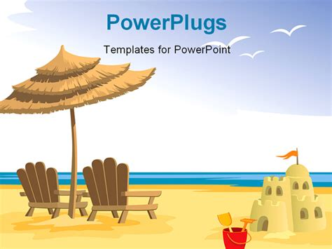 Summer Beach Chairs Umbrella Sandcastle And Toys Powerpoint Template Background Of Holiday Powerpoint Summer Templates