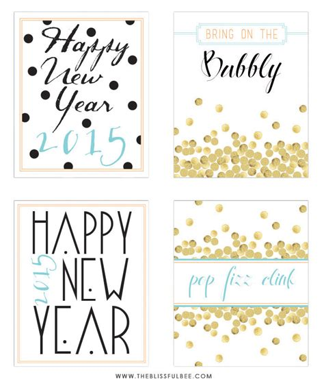 new year 2015 printable images free 2015 new year s printables the blissful bee